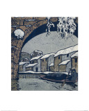 Snow by the Waterside Village Giclee Print by Wu Jide