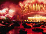 20 Tons of Fireworks Explode over Syndey Harbor at Midnight, New Year's Eve 2000 Photographic Print by Annie Griffiths