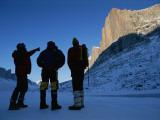 Mountain Climbers on Frozen Stewart Lake Below Great Sail Peak Photographic Print by Gordon Wiltsie