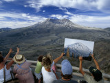 Visitors Compare the Cone of Mt St Helens with an Earlier Photo of It Photographic Print by Jim Richardson