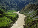 The Mekong River Running Past Terraced Fields in the Mountains Photographic Print by Michael S. Yamashita