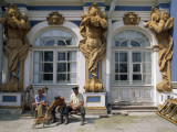 Workmen Rest Near the Figures of Atlas O the Palace of Tsarskoye Selo Photographic Print by Sisse Brimberg
