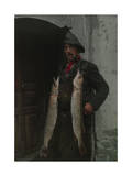 Swiss Fisherman with a Catch of Two Pike Photographic Print by Hans Hildenbrand