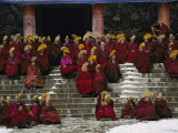 Monks of the Yellow Hat Sect of Tibetan Buddhism Gather for Prayers Photographic Print by Michael S. Yamashita