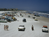 Cars, Motorbikes, and Bathers Share One Strip of Sand in 1957 Photographic Print by J. Baylor Roberts