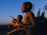 Newly Circumcised Boys from the Luvale Tribe Greet the Dawn Photographic Print by Chris Johns