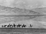 Men on Horseback Riding Along the Shore of Lake Bulun Kul Photographic Print by Maynard Owen Williams