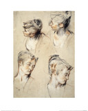 Four Studies of a Young Woman's Head Giclee Print by Antoine Watteau