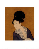 Woman at Her Morning Toilette, a Hanging Scroll Painting Reproduction proc&#233;d&#233; gicl&#233;e par Kitagawa Utamaro