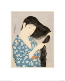 Woman in a Bathrobe Combing Her Hair Giclee Print by Taisho Era. Hashiguchi Goyo