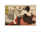 """Älskare i ett rum på övervåningen, från Uta Makuras """"Kuddens poesi"""", trätryck i färg Gicleetryck av Kitagawa Utamaro"""