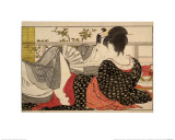 Lovers in an Upstairs Room, from Uta Makura ('Poem of the Pillow'), a Colour Woodblock Print Giclee Print by Kitagawa Utamaro