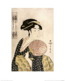 Ohisa of the Takashima Tea-Shop Lmina gicle por Kitagawa Utamaro