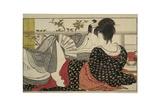 Amantes en la habitación de arriba, de Utamakura, poema de la almohada, xilografía en color Lámina giclée por Kitagawa Utamaro