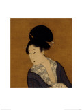 Woman at Her Morning Toilette, a Hanging Scroll Painting Gicleetryck av Kitagawa Utamaro