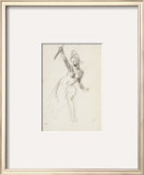 "Woman with Half-Naked Waving a Stick; Study for the ""Liberty Leading the People"" 1830 Framed Giclee Print by Eugene Delacroix"