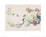 Magnolia, Prunus, Bees Giclee Print by Ding Yingzong