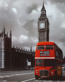 Roter Doppeldeckerbus in London Poster