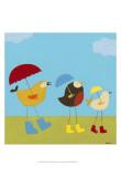 Rainy Day Birds I Kunstdrucke von Erica J. Vess