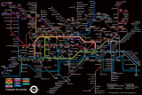 London Underground - Black Map Prints
