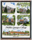 Middle Georgia College, Collage Throw Blanket