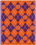 Clemson University, Plaid Throw Blanket