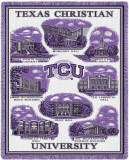 Texas Christian University, Collage Throw Blanket