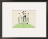 Four Ladies Holding Hands Wear Dresses Influenced by Ancient Egypt Framed Giclee Print by A.e. Marty