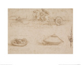 Military Machines and a Study for a Spearhead Giclee Print by  Leonardo da Vinci