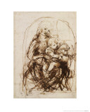 Virgin and Child with Cat, a Drawing Giclee Print by  Leonardo da Vinci