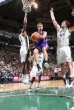 Sacramento Kings v Utah Jazz: Beno Udrih, C.J. Miles and Kyrylo Fesenko Photographic Print by Melissa Majchrzak
