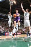 Sacramento Kings v Utah Jazz: Beno Udrih, C.J. Miles and Kyrylo Fesenko Photographic Print by Melissa Majchrzak