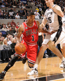Chicago Bulls v San Antonio Spurs: Derrick Rose and Matt Bonner Photographic Print by D. Clarke Evans