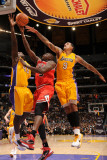 Chicago Bulls v Los Angeles Lakers: Luol Deng, Derrick Caracter and Matt Barnes Photographic Print by Andrew Bernstein