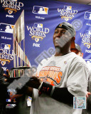 Edgar Renteria with the World Series MVP Trophy Game Five of the 2010 MLB World Series Photo