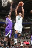 Sacramento Kings v Utah Jazz: Deron Williams and Donte Greene Photographic Print by Melissa Majchrzak