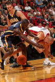 Indiana Pacers v Miami Heat: Darren Collison and Carlos Arroyo Photographic Print by Victor Baldizon
