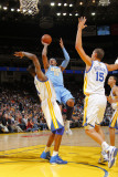 Denver Nuggets v Golden State Warriors: Carmelo Anthony andris Biedrins and Dorell Wright Photographic Print by Rocky Widner