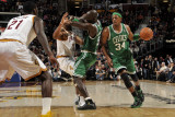 Boston Celtics v Cleveland Cavaliers: Paul Pierce, Joey Graham and Kevin Garnett Photographic Print by David Liam Kyle