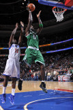 Boston Celtics v Philadelphia 76ers: Kevin Garnett and Jrue Holiday Photographic Print by David Dow