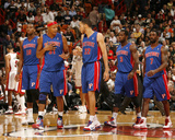 Detroit Pistons v Miami Heat: Greg Monroe, Charlie Villanueva, Tayshaun Prince and Rodney Stuckey Photographic Print by Issac Baldizon