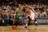 Boston Celtics v New York Knicks: Ray Allen and Wilson Chandler Photographic Print by Lou Capozzola