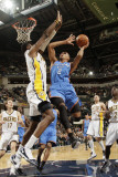 Oklahoma City Thunder v Indiana Pacers: Thabo Sefolosha and Roy Hibbert Photographic Print by Ron Hoskins