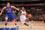 New York Knicks v Los Angeles Clippers: Eric Bledsoe and Timofey Mozgov Photographic Print by Noah Graham