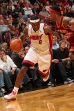 Cleveland Cavaliers v Miami Heat: LeBron James and Daniel Gibson Photographic Print by Victor Baldizon