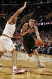 Milwaukee Bucks v Cleveland Cavaliers: Ersan Ilyasova and Ryan Hollins Photographic Print by David Liam Kyle