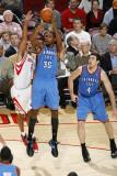 Oklahoma City Thunder v Houston Rockets: Kevin Durant and Shane Battier Photographic Print by Bill Baptist
