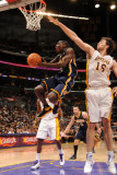 Indiana Pacers v Los Angeles Lakers: Darren Collison and Pau Gasol Photographic Print by Andrew Bernstein
