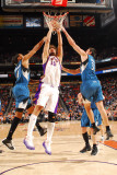 Minnesota Timberwolves v Phoenix Suns: Robin Lopez, Wesley Johnson and Darko Milicic Photographic Print by Barry Gossage