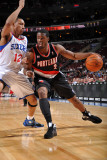 Portland Trail Blazers v Philadelphia 76ers: Wesley Matthews and Evan Turner Photographic Print by Jesse D. Garrabrant
